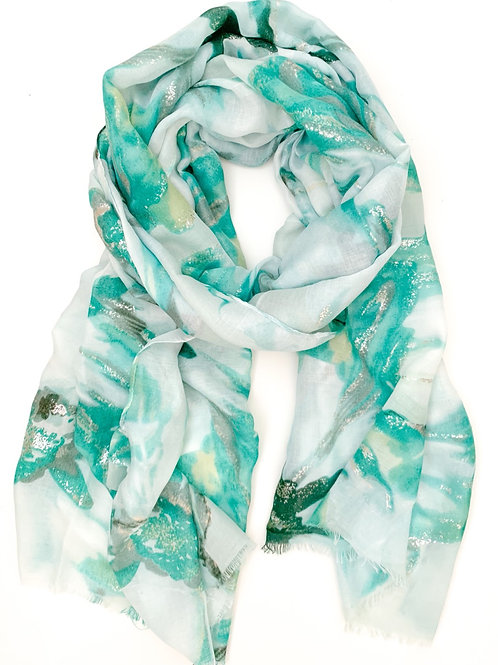 The Silver Lining Floral Scarf, Turquoise