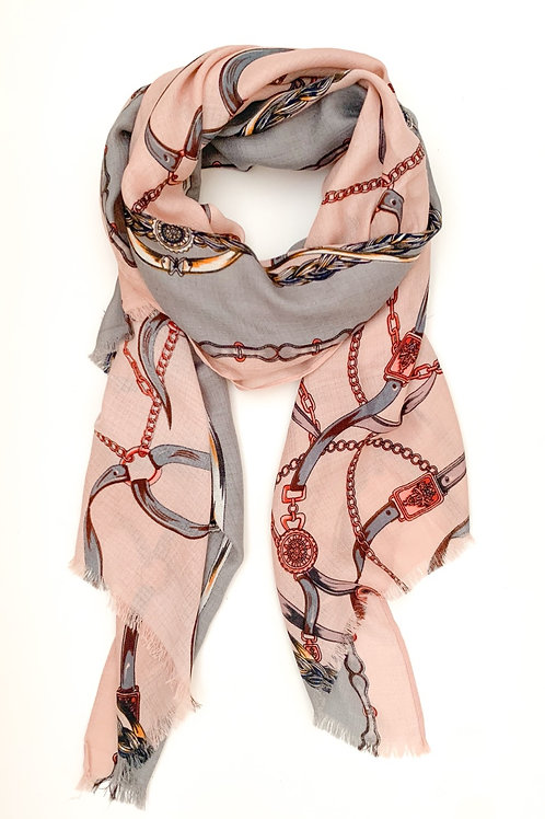 Ropes and Chains Scarf, Blush with Grey