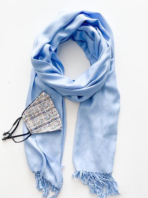 Mask & Pashmina Set, Light Blue