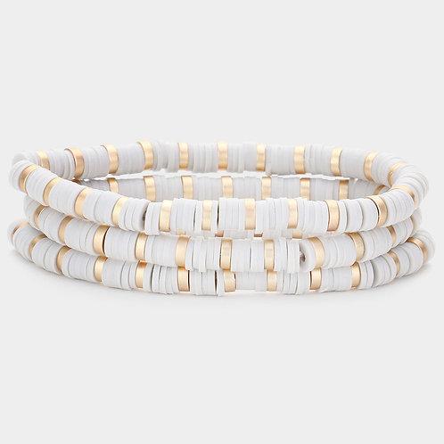 Beaded Clay Stretch Bracelet, Grey