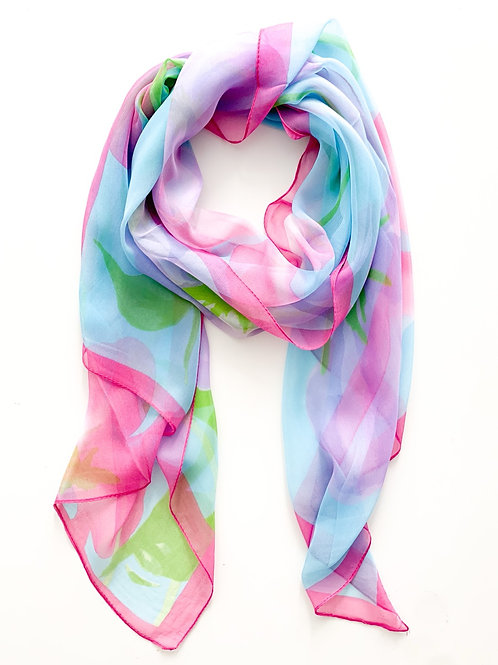 The Whimsical Floral Scarf, Blue