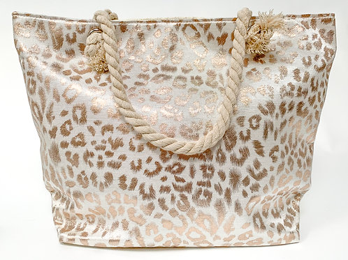The Leopard Print Tote, Rose Gold