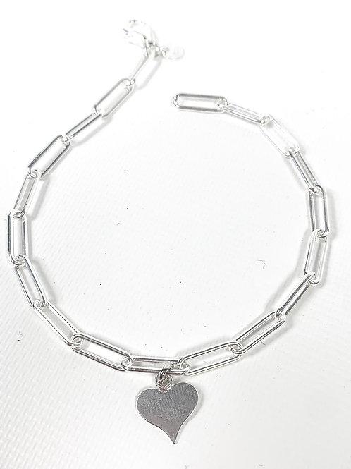 The Flat Heart Paperclip Bracelet