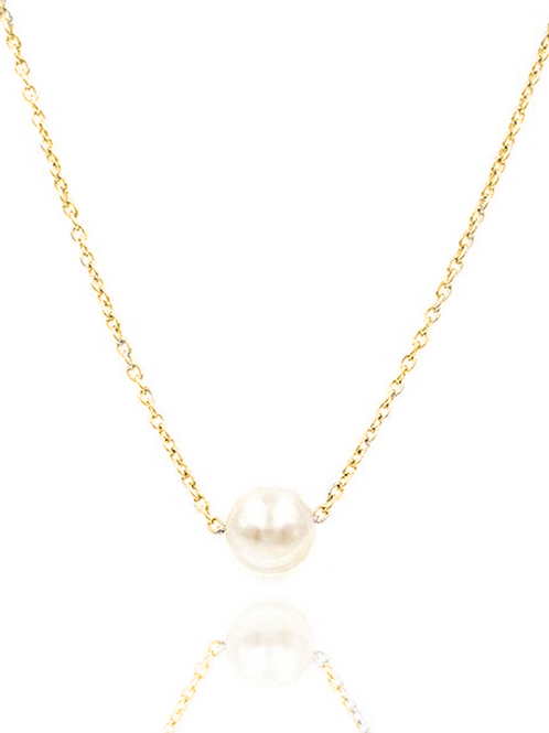 Single Pearl Collar Necklace, Gold