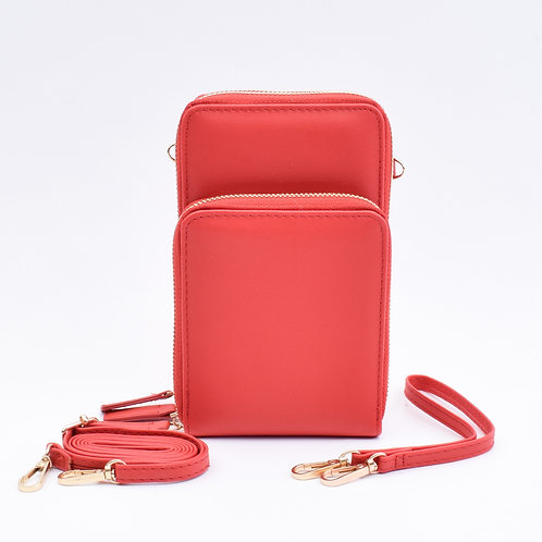 3 Zip Cellphone Wristlet & Crossbody, Red