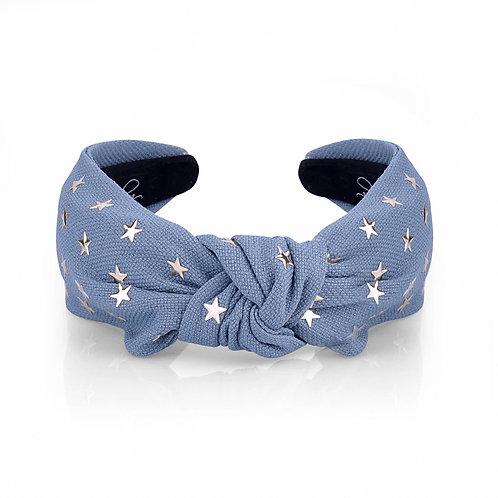 The Studded Star Top Knot Headband, Blue