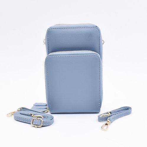 3 Zip Cellphone Wristlet & Crossbody, Light Blue