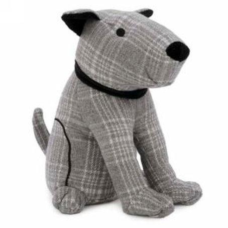 Checkered Grey Dog Door Stopper