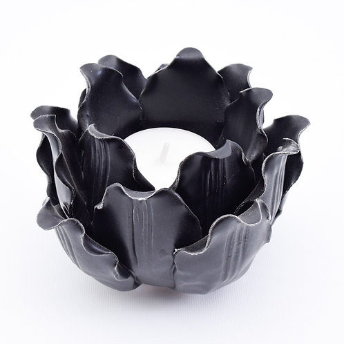 Flower Tea light Votive, Black