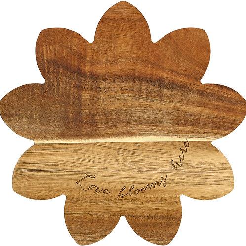 "Floral Love - 10"" Acacia Cheese/Bread Board Set"