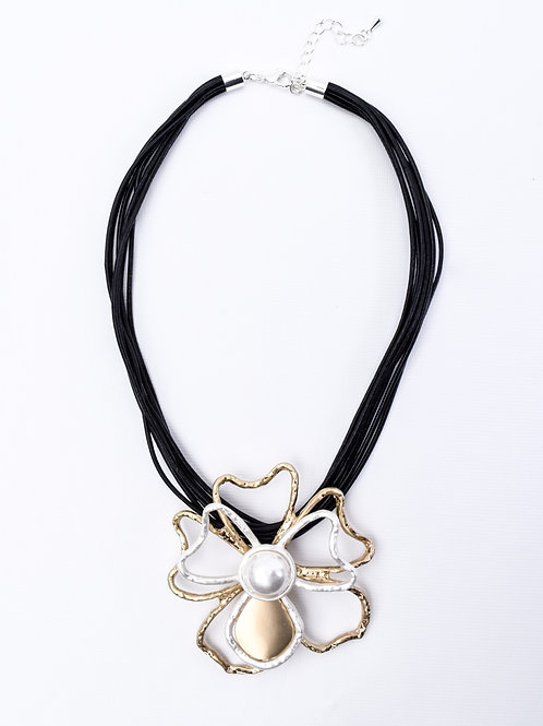 The Floral Statement, Leather Necklace
