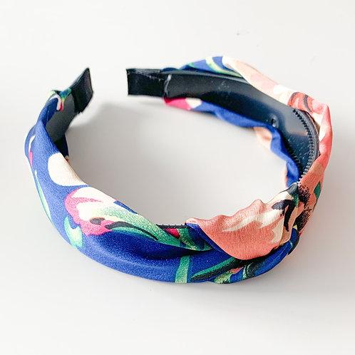 Floral Silky Top Knot Headband, Blue