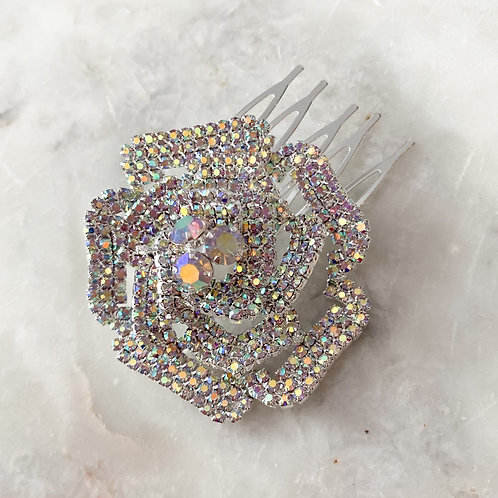 The Rosa Hair Comb, Silver with AB Crystal