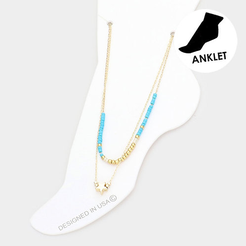Dainty Beaded Star Anklet, Turquoise