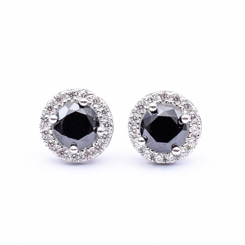 The Halo Stud,925 Silver, Black