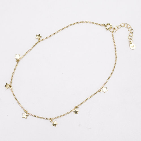 Tiny Stars Sterling Silver Anklet