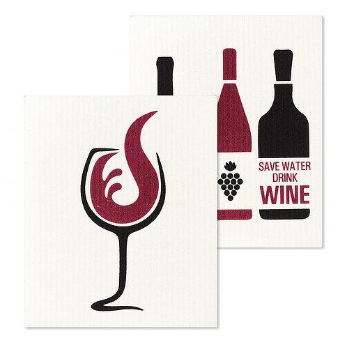Wine Glass & Bottles Dishcloths. Set of 2