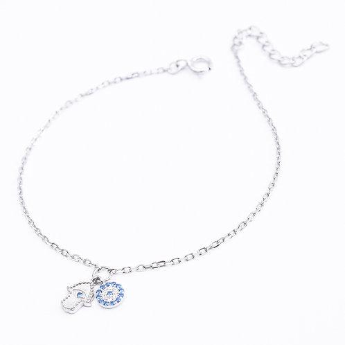 Hamsa & Eye Sterling Silver Bracelet, Silver