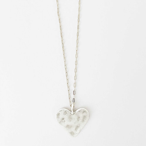 Long Hammered Heart Necklace, Silver
