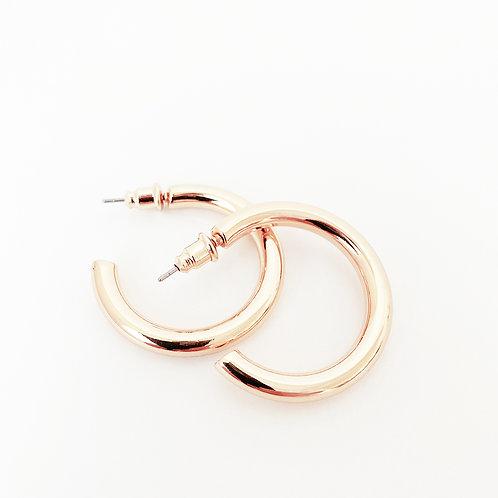 Basic Metal Hoops, Rose Gold