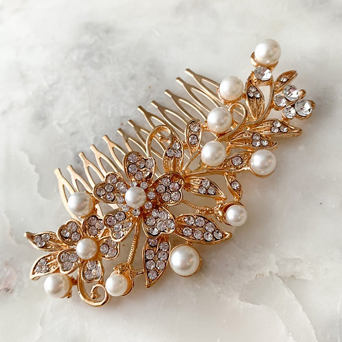 The Bella Pearl Hair Comb, Gold