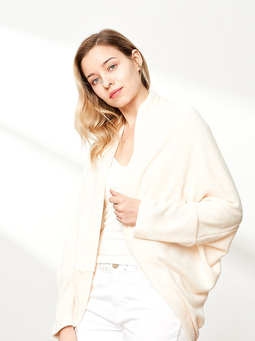 Open-Front Cocoon Sweater, Cream