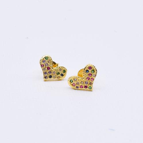 Speckled Mini Heart Studs