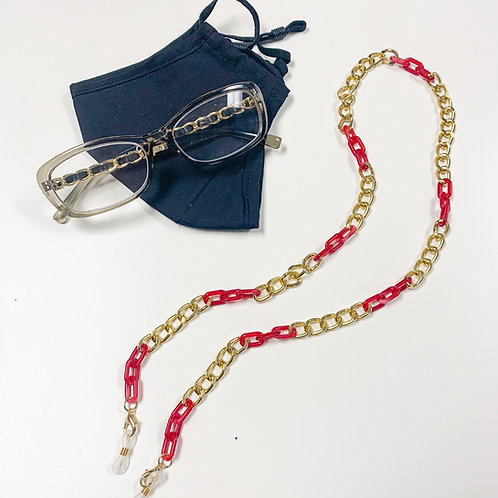 2-in-1 Mask/Glasses Chain, Red & Gold