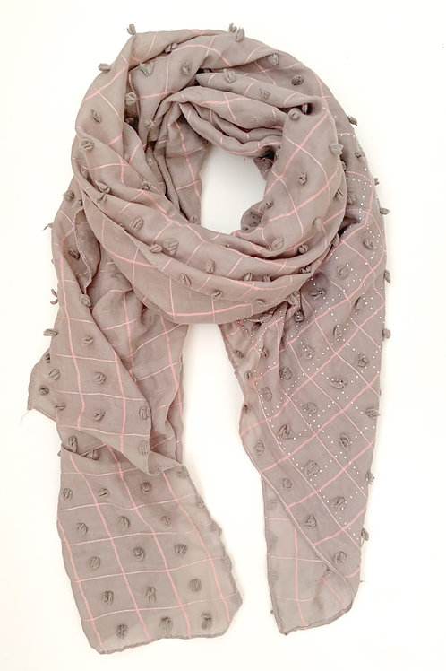 The Knot & Tassel Cotton Scarf, Grey