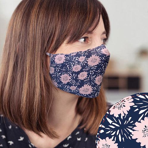 Navy Flower Mask