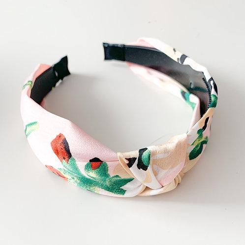 Floral Silky Top Knot Headband, Blush