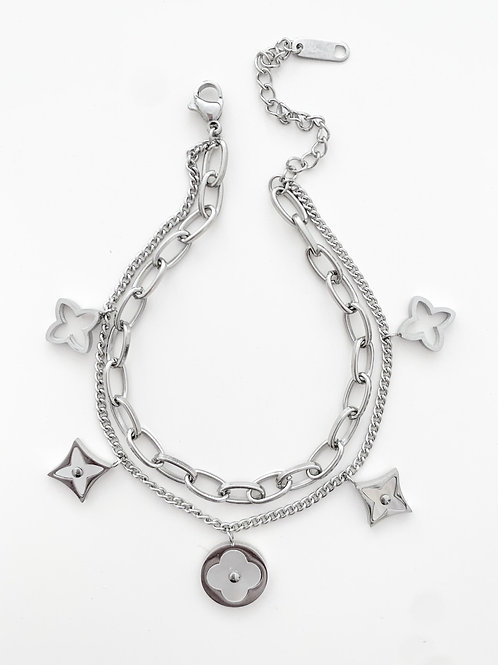 The Double Chained Pearled Clover Bracelet, Stainless Steel