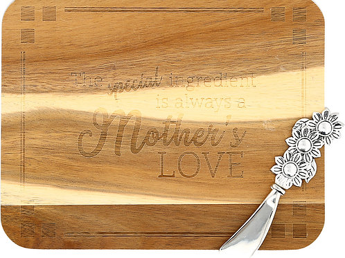 """Mother's Love - 9"""" x 7"""" Acacia Serving Board with Spreader"""