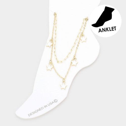 5-Star Charm Anklet, White