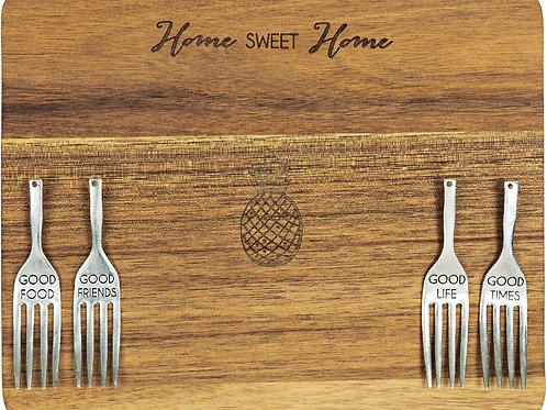 "Home Sweet Home - 9"" Acacia Cheese/Bread Board Set"