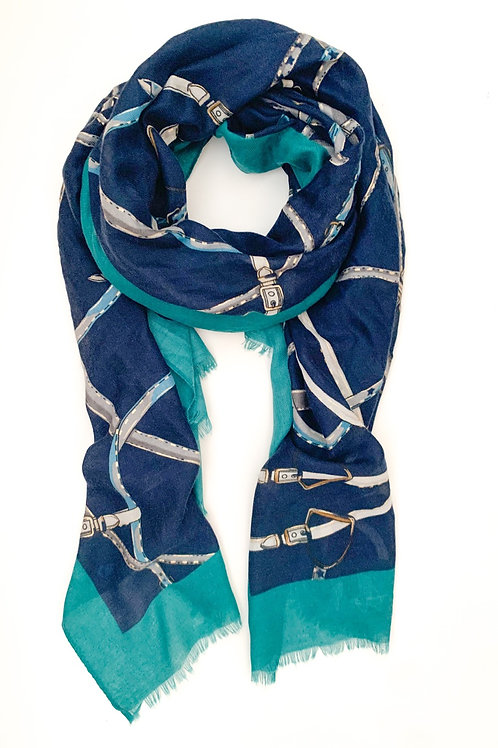 Ropes and Chains Scarf, Navy with Teal