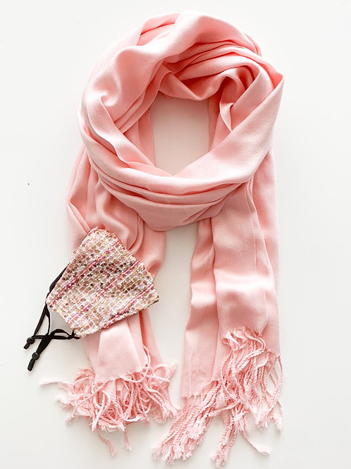 Mask & Pashmina Set, Light Pink