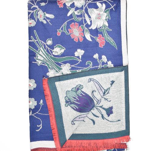 The Floral Mosaic Shawl, Blue