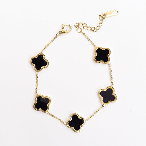 The Love Clove Bracelet, Gold with Onyx
