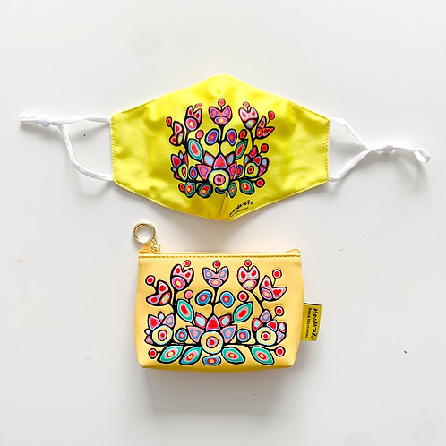 Indigenous Mask & Coin Purse Set, Floral on Yellow