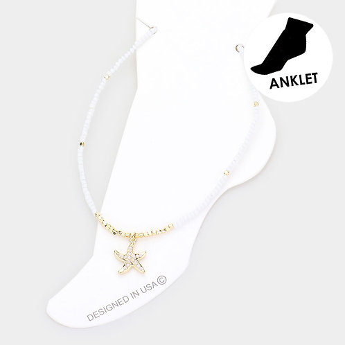 The Starfish Anklet, White