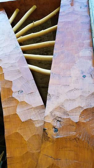 detail of adzed wood surface using Sikkens wood finish