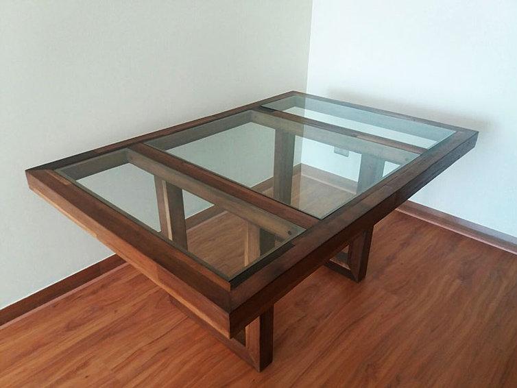 mesa de comedor vidrio madera