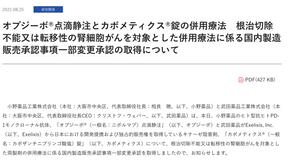 (腎臟癌)保疾伏併用Cabometyx療法於日本國內取得許可