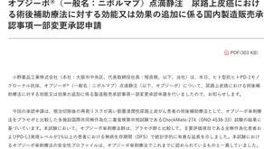 (尿路上皮癌)申請追加使用保疾伏作為術後輔助治療的許可