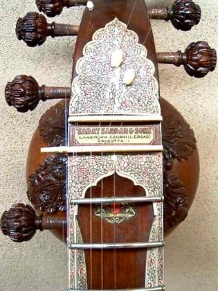 1960s Sarat Sardar & Sons Surbahar With Carved Dragon Headstock