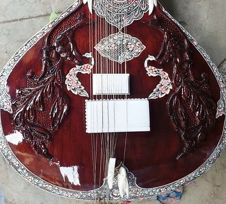 2020 Mohammad Waseem Travel Sitar with Peacock Carving & Machine Tuners