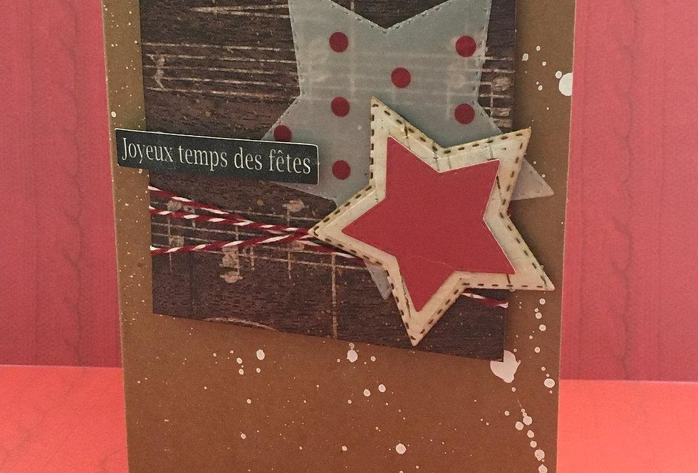 Cartes & enveloppes paquet de 6: PQ6-NOEL-ETOILES
