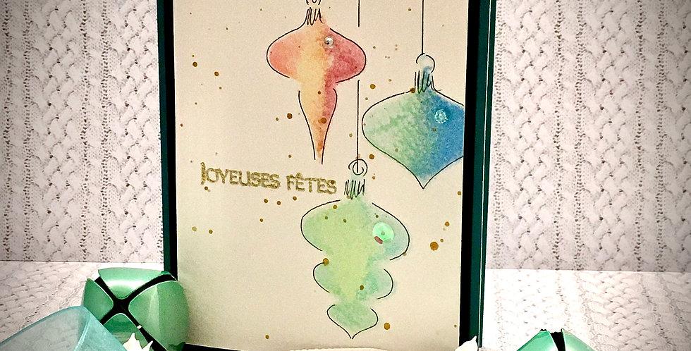 Cartes & enveloppes paquet de 6: PQ6-NOEL-BOUL-AQUA