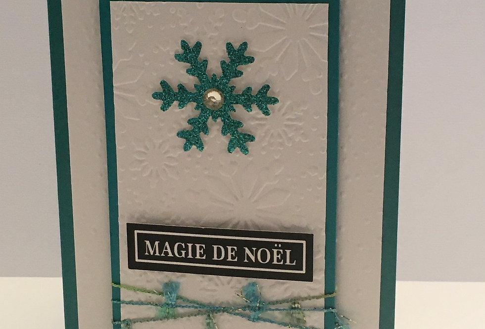 Cartes & enveloppes paquet de 6:  PQ6-NOEL-FLO-TURQ